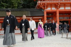Kyoto, 20/20/2016 - L'ingresso al santuario Shimogamo per la cerimonia di premiazione dei Sake Samurai 2016